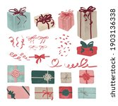 a set of gift boxes  ribbons ... | Shutterstock .eps vector #1903136338