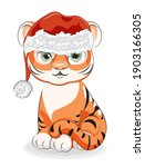 cute  baby tiger in santa hat... | Shutterstock .eps vector #1903166305