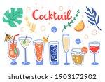 tropical cocktail set. hand... | Shutterstock .eps vector #1903172902