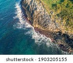 Aerial View Of The Rocky Sea...
