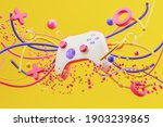 White standard game controller  ...