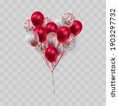 heart of realistic ballons  red ... | Shutterstock .eps vector #1903297732