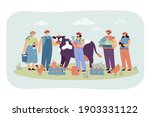 group happy farmers keeping cow ...   Shutterstock .eps vector #1903331122