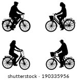 city bicyclists silhouettes | Shutterstock .eps vector #190335956