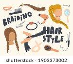 set of icons braiding hair... | Shutterstock .eps vector #1903373002