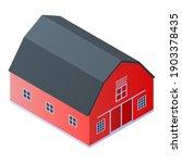 Red Farm Barn Icon. Isometric...