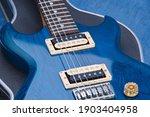 Closeups Of A High Gloss  Blue  ...