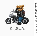 en route slogan with bear doll... | Shutterstock .eps vector #1903412272