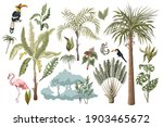 jungle animals  flowers and... | Shutterstock .eps vector #1903465672