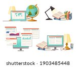 items for desk workplace... | Shutterstock .eps vector #1903485448
