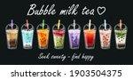 bubble tea milk. cocktail... | Shutterstock .eps vector #1903504375