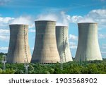 Cooling towers of nuclear power plant Mochovce with cloudy sky in the background. Nuclear power station.