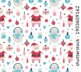 seamless christmas pattern with ... | Shutterstock .eps vector #1903609162