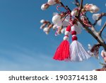 Small photo of Spring background with white blossom and Bulgarian symbol of spring - martenitsa. March 1 tradition white and red cord martisor and spring flowers. Cheerful concept of beginning of spring. Copy space