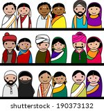 Indian women and men vector avatar illustration - Indian couple representing different states/religions of India.