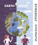 Earth Hour Day Flat Card With...