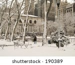 This is a shot of Bryant Park In Manhattan during a snow storm. - stock photo