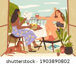 relaxed young women sitting... | Shutterstock .eps vector #1903890802
