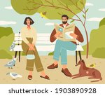 couple resting on bench in...   Shutterstock .eps vector #1903890928