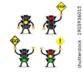 cartoon style traffic light ...