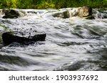 River Flow Over Rocks In Summer ...