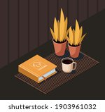 recipe book  cup coffee and... | Shutterstock .eps vector #1903961032