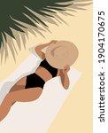 the girl on the beach is... | Shutterstock .eps vector #1904170675