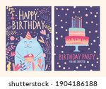 Set Of Happy Birthday Card And...