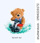 splash up slogan with bear doll ... | Shutterstock .eps vector #1904223172