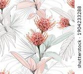 Seamless Tropical Protea...