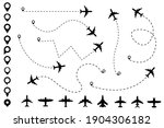 plane dotted path and map pin...   Shutterstock .eps vector #1904306182
