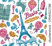 paris seamless pattern in...   Shutterstock .eps vector #1904321788