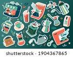 coffee sticker set  barista... | Shutterstock .eps vector #1904367865