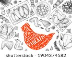 chicken meat. grilled and fried ... | Shutterstock .eps vector #1904374582