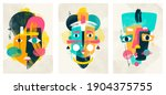 face portrait abstraction wall...   Shutterstock .eps vector #1904375755