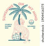 palm tree and tiger line art... | Shutterstock .eps vector #1904416375
