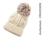 Beige Wool Cable Knit Ski Hat...