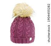 Purple Wool Cable Knit Ski Hat...