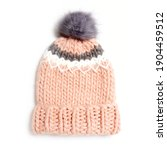 Pink Wool Cable Knit Ski Hat...