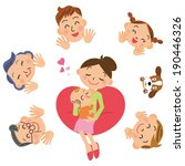 baby and a mom and family | Shutterstock .eps vector #190446326