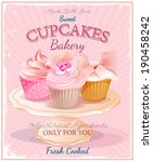 cupcakes. poster in vintage... | Shutterstock .eps vector #190458242