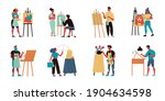 set of isolated artist icons... | Shutterstock .eps vector #1904634598