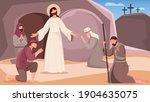 jesus resurrection and people...   Shutterstock .eps vector #1904635075