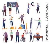 discrimination flat icons set... | Shutterstock .eps vector #1904640208