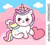 cute unicorn pegasus vector on... | Shutterstock .eps vector #1904656642