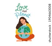 woman hugging earth globe and...   Shutterstock .eps vector #1904663008