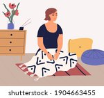 woman meditating and performing ...   Shutterstock .eps vector #1904663455