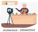 an elderly woman in the kitchen ... | Shutterstock .eps vector #1904695945