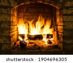 Burning Firewood In Fire Box Of ...