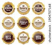 set of golden seal quality... | Shutterstock .eps vector #1904707168